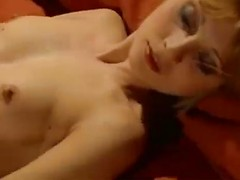 Youthful retro blonde with a bush fucks the old guy in a sensual lovemaking video