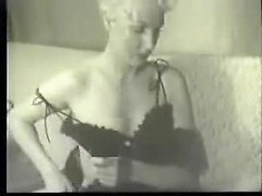 Blonde vintage mom with a sexy booty and small tits with puffy nipples