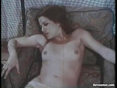 Nasty classic bitch masturbating hairy cunt in old 1980 porn