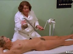 Hairy pussy girls at the German spa get a naughty massage from a mature lady