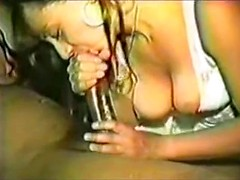 White mommy in lace lingerie sits on hard black cock and her pussy stretches